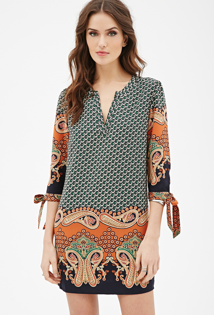 Paisley Print Shift Dress | Dressometry