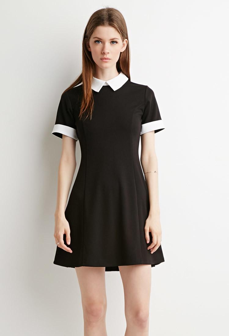 Черно Белое Платье С Воротником С Доставкой