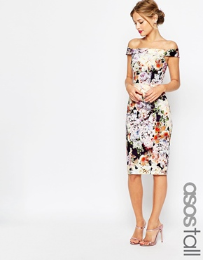 Asos Tall Wedding Bardot Navy Floral Off Shoulder Pencil Dress