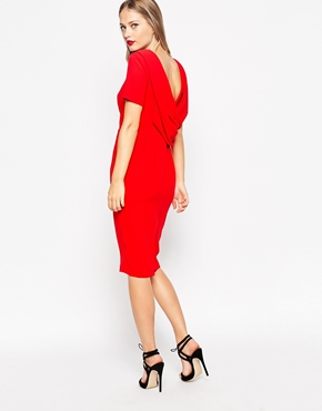 Asos Cowl Back Crepe Midi Dress