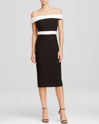 Bardot Color Block Off-the-shoulder Dress