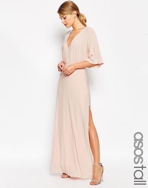 Asos Tall Kimono Plunge Maxi Dress