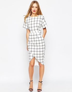 Asos Wrap Wiggle Dress In Grid Check Print