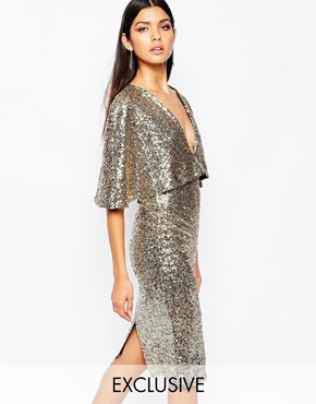 Club L Kimono Sleeve Midi Dress In Allover Sequin With Center Split