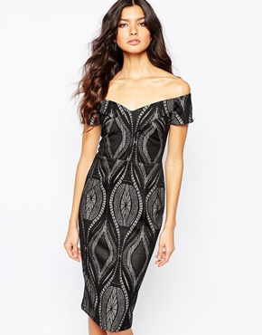 River Island Bardot Lace Body-conscious Dress