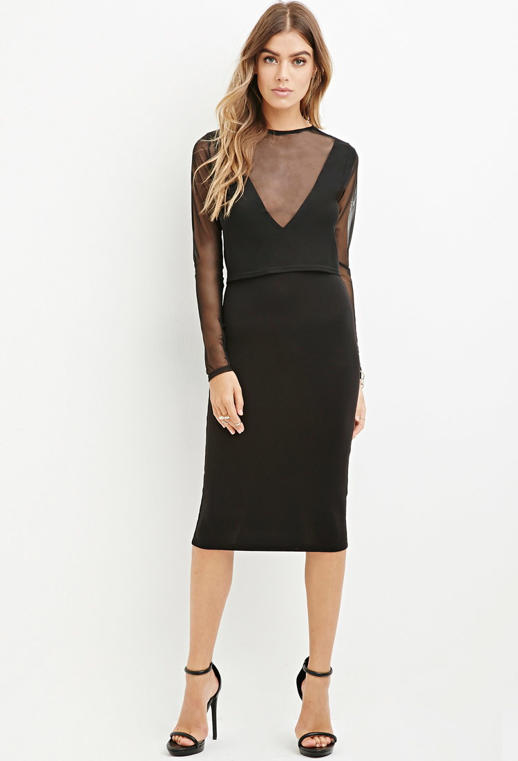 Layered Mesh Bodycon Dress
