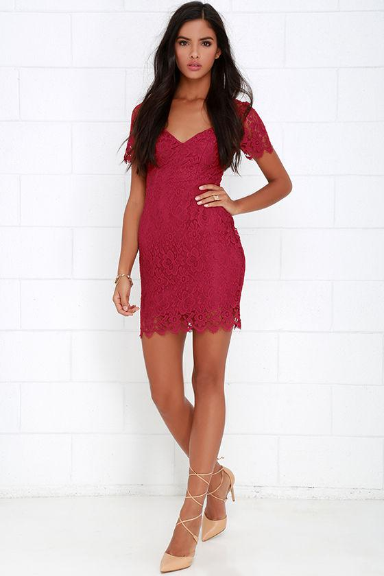 What In Carnation Berry Red Lace Dress