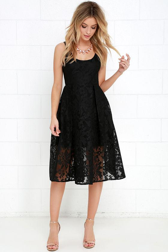 Sweet Rhapsody Black Lace Midi Dress