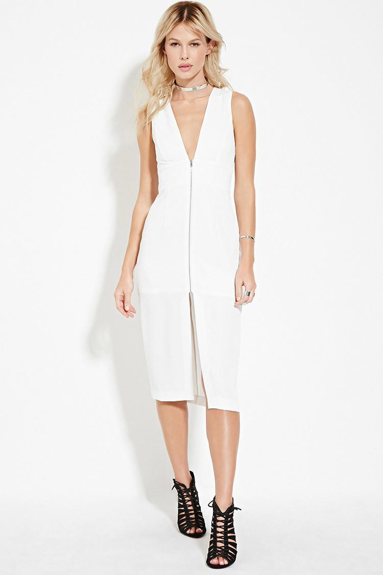 V-neck Zip-front Dress