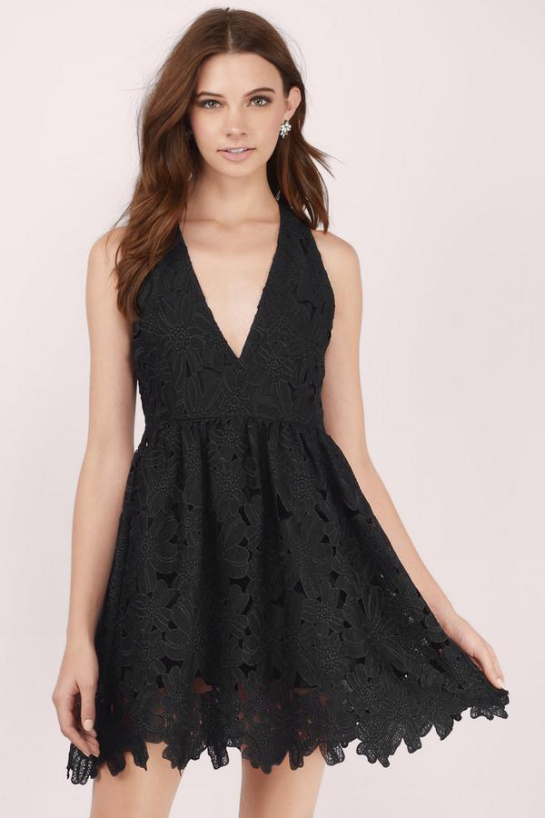 Flounce Deep V Skater Dress