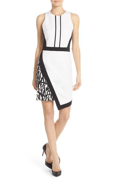 Adelyn Rae Asymmetrical Crepe Sheath Dress