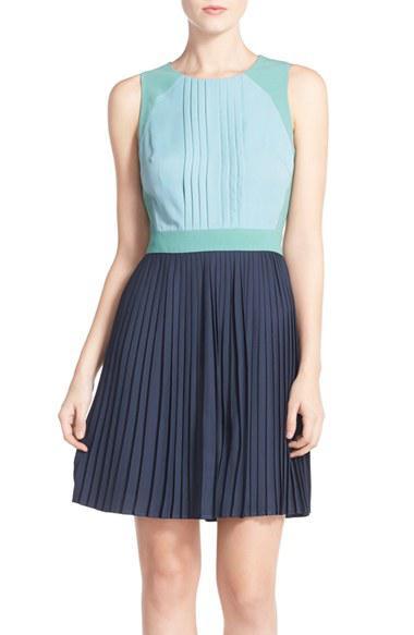 Chelsea28 Colorblock Pleat Fit & Flare Dress