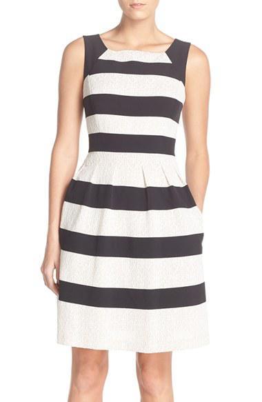 Tahari Stripe Mixed Media Fit & Flare Dress (regular & Petite)