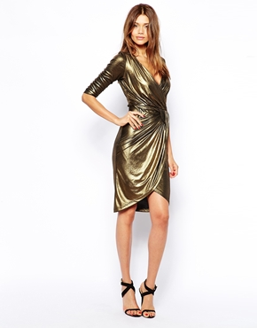 Little Mistress Gold Wrap Front Dress | Dressometry