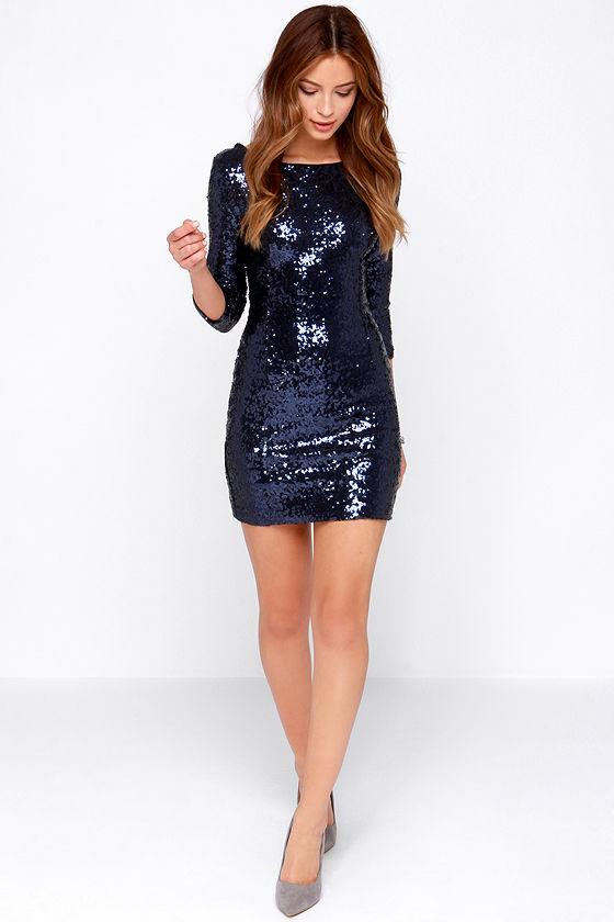 Dark Blue Sequin Dress Dress Yp